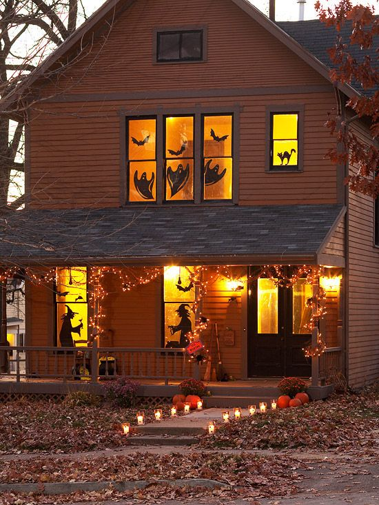 Copy, enlarge, print, and cut out our silhouette patterns. Trace onto black paper. Cut out the silhouettes and tape onto the inside of indoor windowpanes. Illuminate your display from the inside with a few strategically placed lamps.