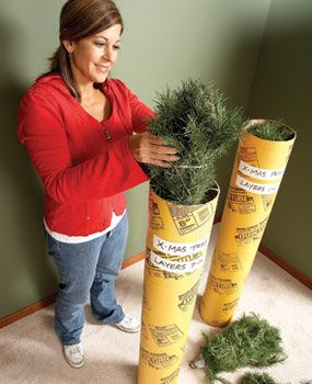Store artificial Christmas tree in a concrete form tube, hang lights from deck with picnic tablecloth clips and other great holiday hacks! Love the paper towel holder for twine, ribbon, and tape- I might just do that in my pantry for year-round!