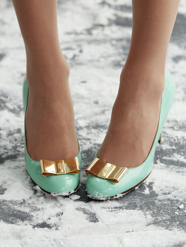 mint and gold shoes