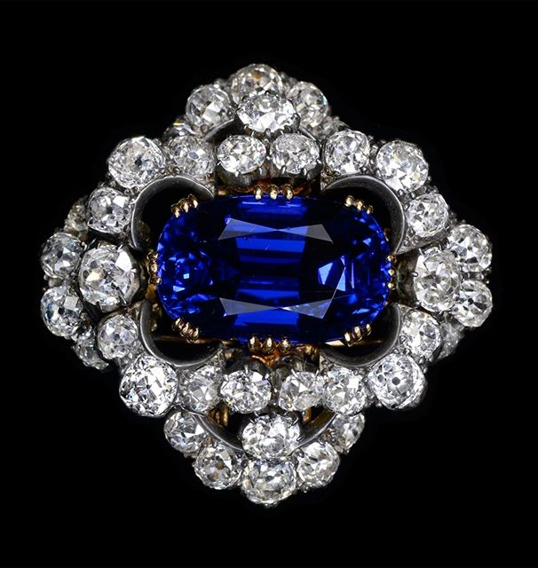 A Magnificent Non-Heated Burmese Sapphire Brooch. Late 19th century, 37.29 carats, given to Elizabeth Taylor by Richard Burton. Dehres, Hong Kong. (HK$39,000,000).