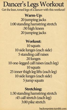 dancer's legs workout...I may never have these legs but I want too!
