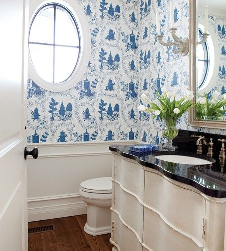 Dramatic Wallpapered Bathroom | photo Monic Richard | design Scott Yetman | House & Home