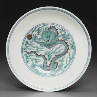 A smalldoucai'Tribute Bearers' bowl, Yongzheng six-character mark in underglaze-blue within a double circle and of the period (1723-1735)
