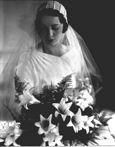 Mariette van Steenwyk Cassels wedding photo, Paris, France, c. 1931  Wedding gown by Chanel, French, 1930's.
