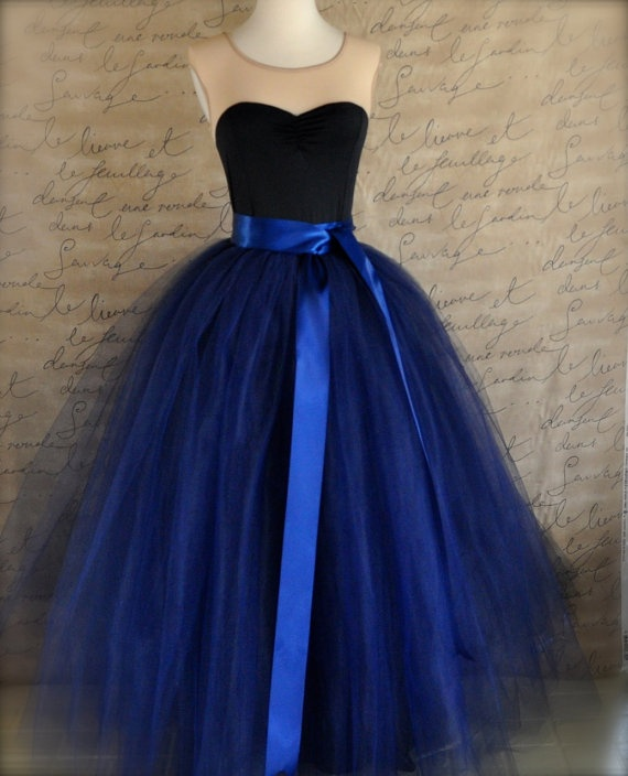 Full length navy tulle skirt Navy tulle lined by TutusChicBoutique, $345.00