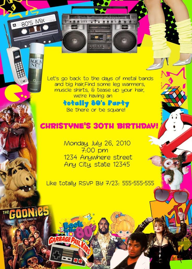 Birthday Party Invitations 15 00 Via Etsy 80s Themed