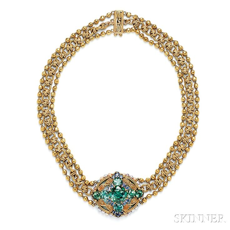 Arts & Crafts 18kt Gold, Tourmaline, and Sapphire Necklace, Tiffany & Co. | Sale Number 2746B, Lot Number 467 | Skinner Auctioneers