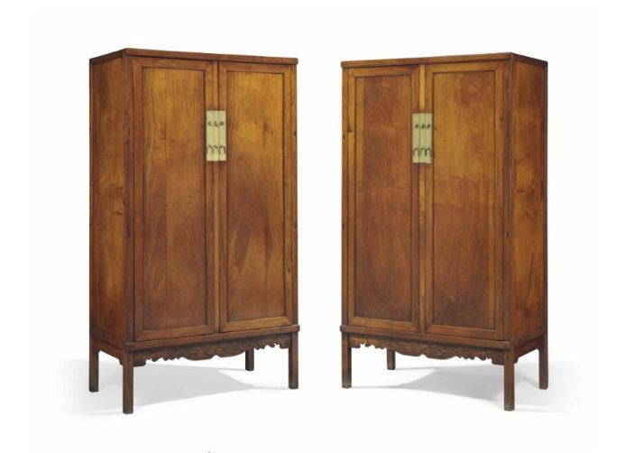 A magnificent pair of huanghuali square-corner cabinets, fangjiaogui, early 18th century