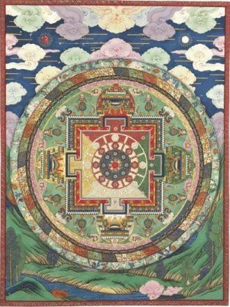 A painting of a Vajravarahi thirty-seven-deity mandala Tibeto-Chinese, Qianlong period, circa 1740-1763