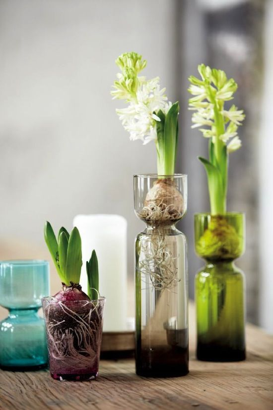 House Doctor, a Danish company, with new glass vases and bottles in blue, smoke and brown colors.
