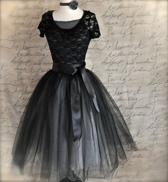 Black and silver tulle tutu skirt for women--A Night at the Ballet.