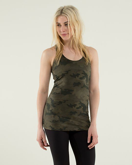 Lululemon green camo fatigue cool racerback tank top! Perfect for crossfit