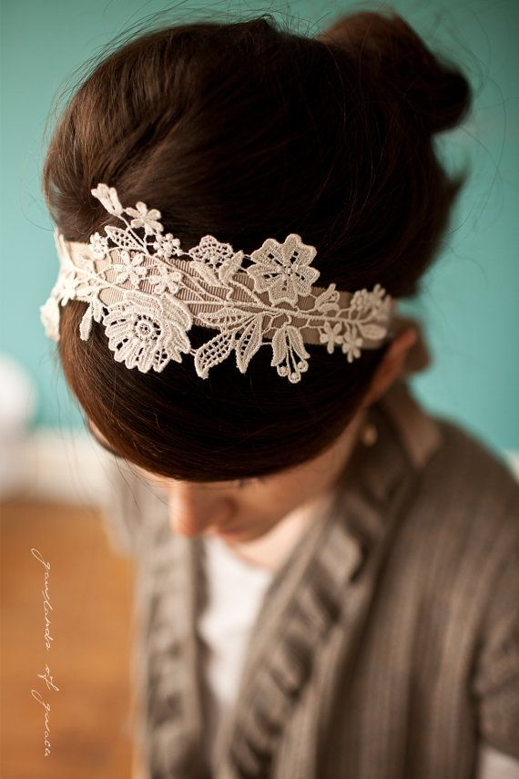 A headband, fabric stiffener spray, and a lovely little piece of lace.