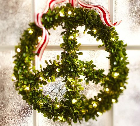 Lit Boxwood Peace Wreath | Pottery Barn