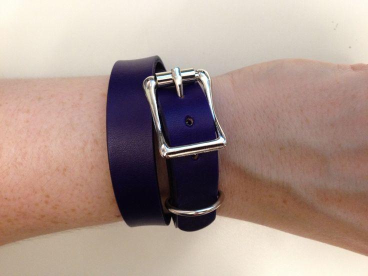 Purple leather double wrap bracelet