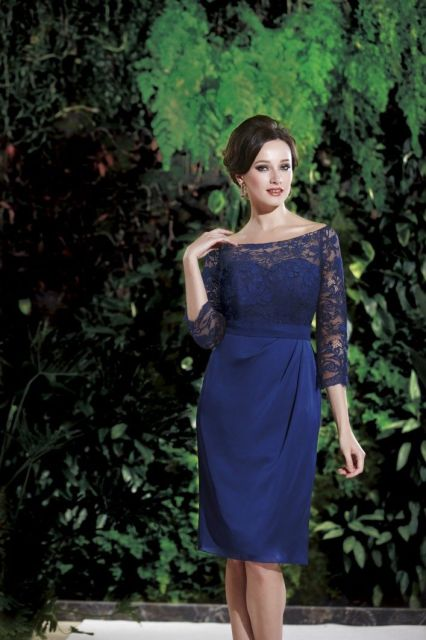 "Jasmine Black Label Mothers Dresses, Spring 2014. Knee-length 25"" Couture Satin Face Chiffon gown with three-quarter length sleeves. Floor length for M160007A. Shown in Navy."