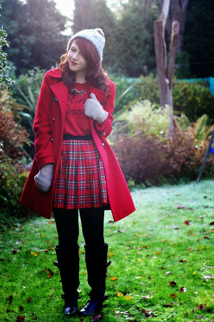 Red Plaid Skirt, Red Jacket, Red Sweater, Black Boots.