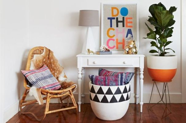 ideas diy para decorar macetas con formas geometricas