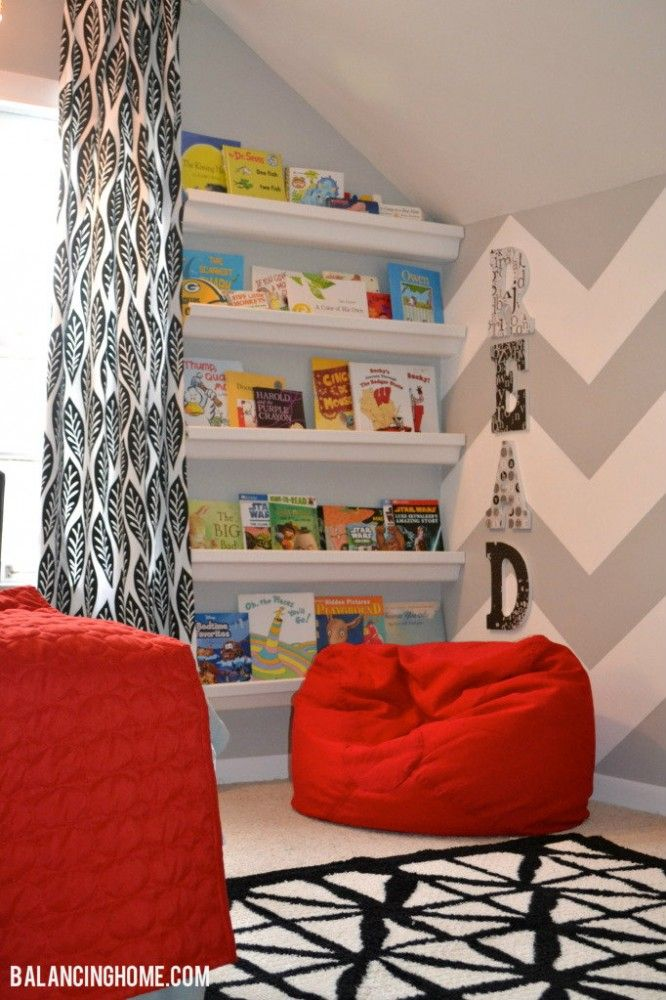 book shelf, bean bags, chevron wall, READ on the wall. Love this for the boys' playroom!!!