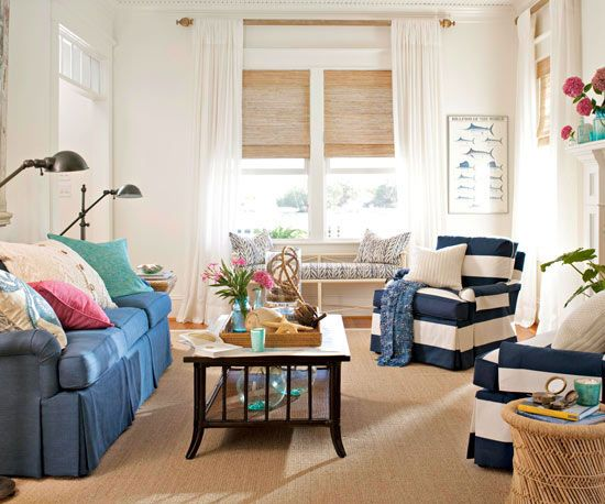 Cozy & Casual!  Love the blue stripe chairs!