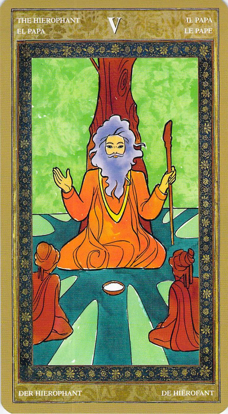 Gentle version of the Hierophant from the Yoga Tarot