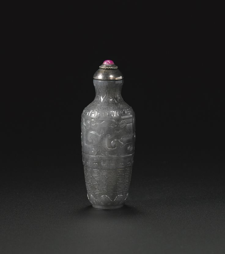 A gray jade snuff bottle, Qianlong mark and period