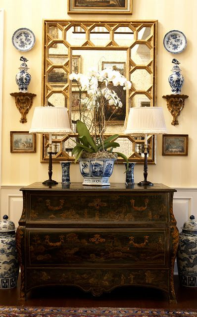 You can never have enough blue and white china on the walls . . .