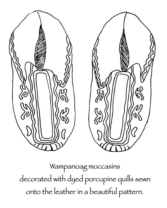indian moccasins decorated with dyed porcupine quills and moose hair