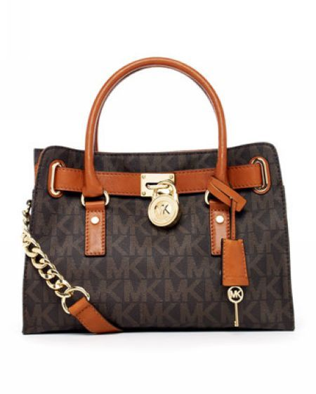 Michael Kors Hamilton MK Logo Satchel Brown