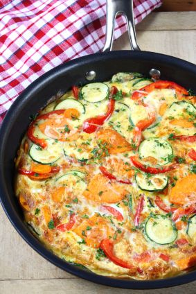 Zucchini & Sweet Potato Frittata. #Paleo..lovely colors at play here, along with the flavors.