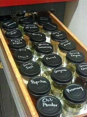 25. Create chalkboard-paint lids for your spices.
