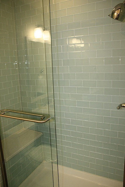 Beautiful glass shower tile, 3x6 in 'Surf' green.