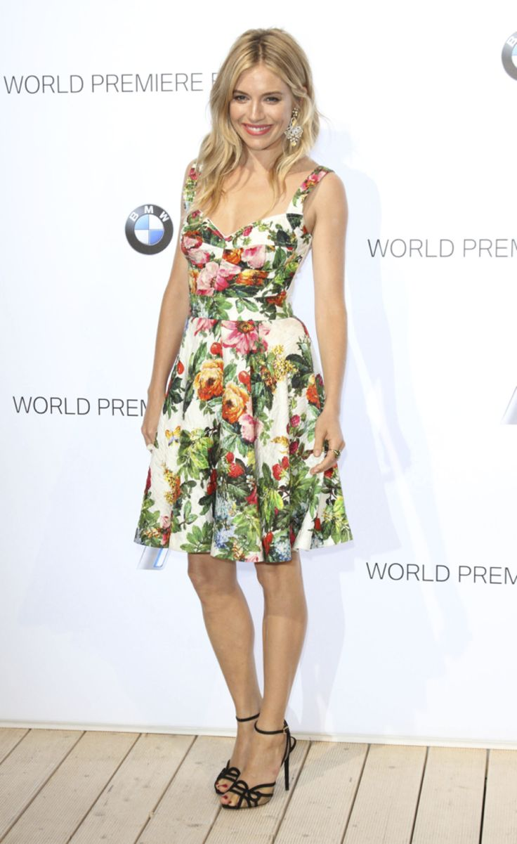 Sienna Miller wears 'Sugar High' from the Charlotte Olympia Cruise 14 collection at the world premiere of the BMW i3 in London
