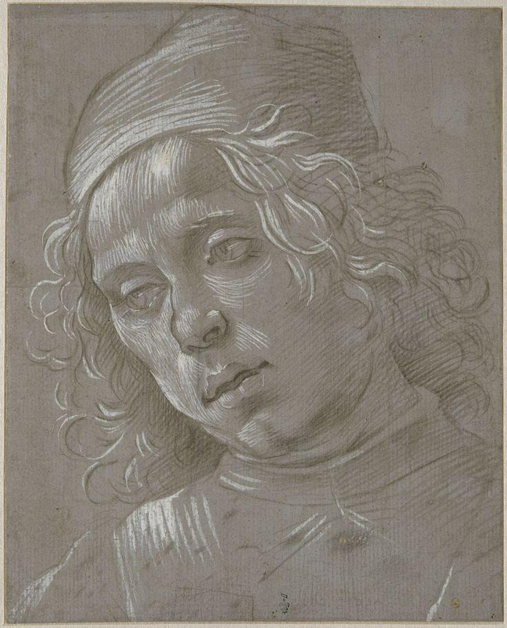 Filippino Lippi, Tête d'homme coiffé d'un bonnet, vue de trois quarts vers la gauche, légèrement penchée vers le bas. Chantilly, musée Condé © RMN-Grand Palais (domaine de Chantilly) / Gérard Blot