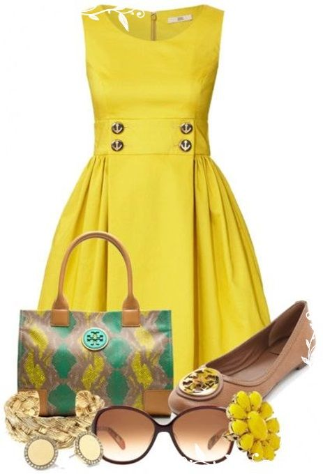 Love this yellow dress and whole look