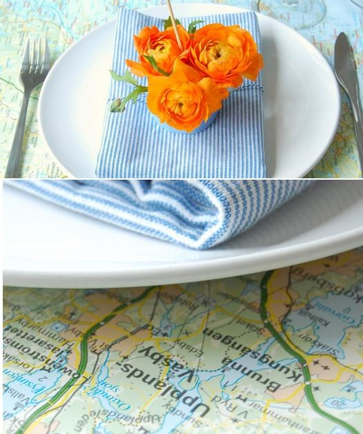 A creative way to share your travel interest with your guests by using maps as an inspiration for your table setting.