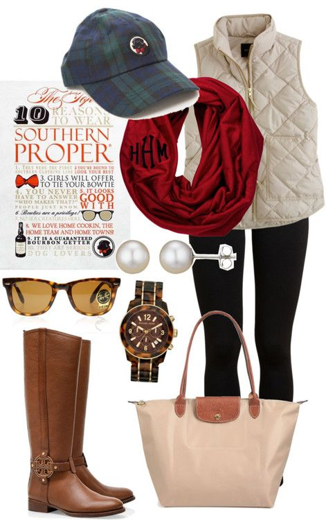 Who's ready for fall?!? I AM!!❤❤❤ by giuliannatornillo featuring folding glasses ❤ liked on PolyvoreJ.Crew slim vest / Vince  pants, $255 / Tory Burch side zip boots / Longchamp nylon tote / Michael Kors tortoise jewelry / A B Davis white earrings, $305 / Logo hat / Ray-Ban folding glasses
