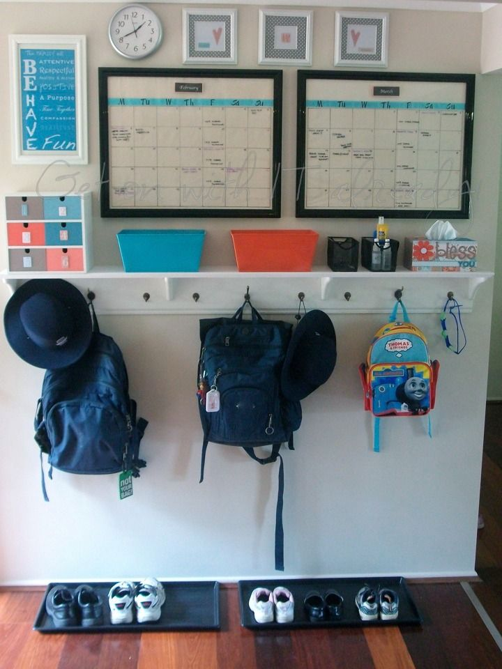 Entryway organization, love the two month dry erase calendar.