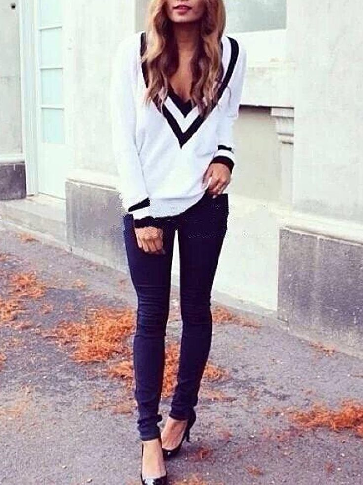 White V Neck Long Sleeve Knit Sweater | abaday