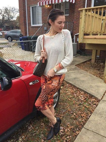 H&M Sweater, Capwell Co Bangle, Reddz Trading Dress, Louis Vuitton Bag