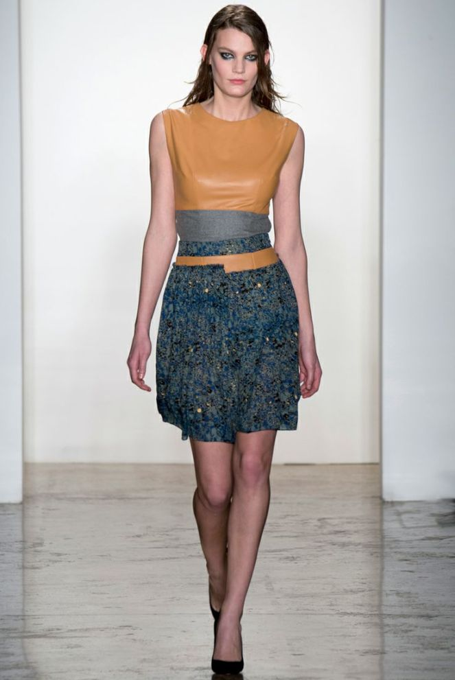 Sophie Theallet fall 2014 rtw, blue yellow outfit, blue gold embellished skirt