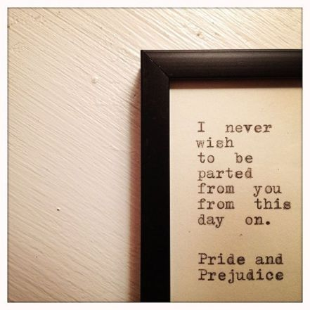 Pride and Prejudice Quote Typed on Typewriter and by farmnflea, $12.00