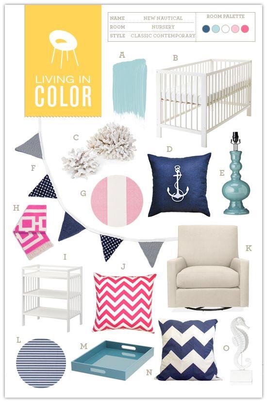 Nautical Nursery for a little girl - Navy, Aqua, Magenta, Pale Pink <3