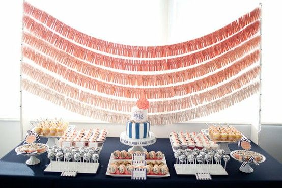 Ombre wedding dessert buffet display! #ombrewedding #weddingdecor