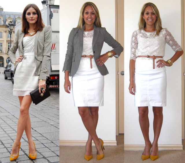 Look to try: white skirt, white lace top, grey jacket
