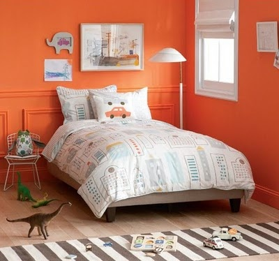 orange childs bedroom