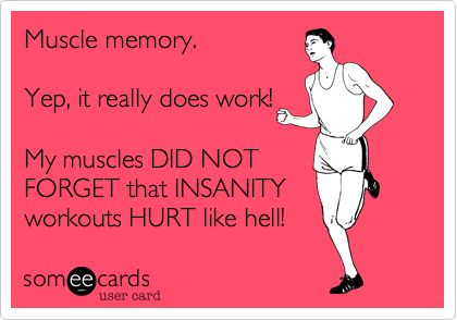 Funny Sports Ecard: Muscle memory. Yep, it really does work! My muscles DID NOT FORGET that INSANITY workouts HURT like hell!
