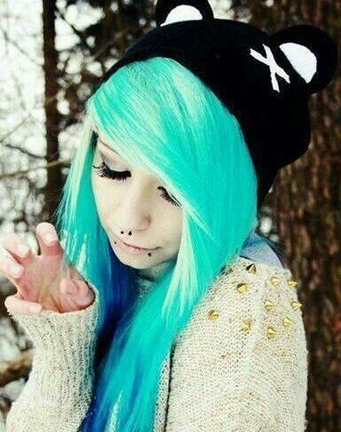 turquoise white and blue hair emo pinterest