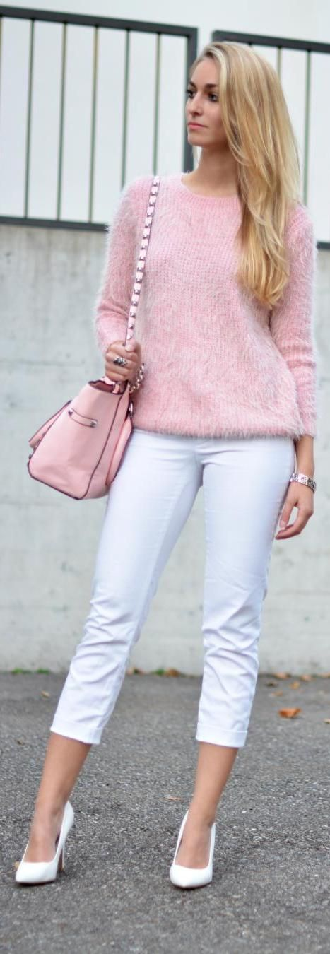 Pink fluffy sweater for fall