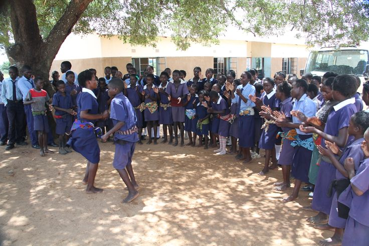Singing and dancing in Zambian school